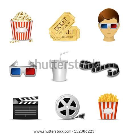 Collection of nine cinema icons isolated on white background, illustration. - stock photo