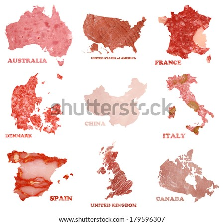 collection of nine countries border lines as different types of salami - stock photo