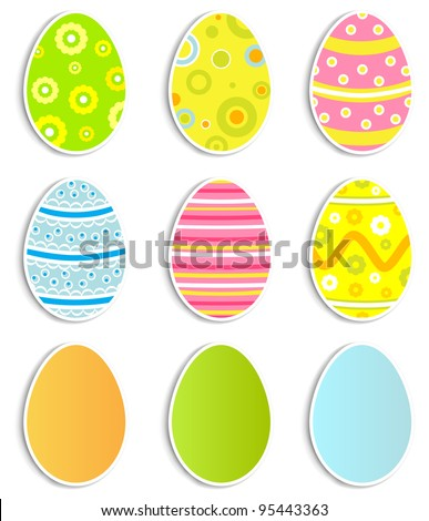 Collection of nine Easter eggs, illustration - stock photo