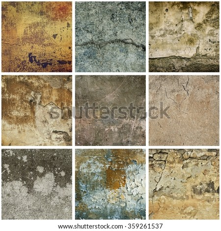 Collection of nine images with vintage grunge texture of old weathered dirty wall - stock photo