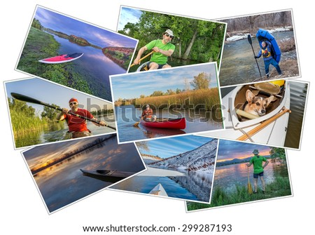 collection of nine  paddling pictures from lakes and rivers of Colorado featuring kayaks, canoes and stand up padleboards  and the same male model - a pile isolated on white - stock photo