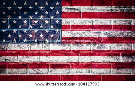 Collection of North America flag on old brick wall texture background, USA - stock photo