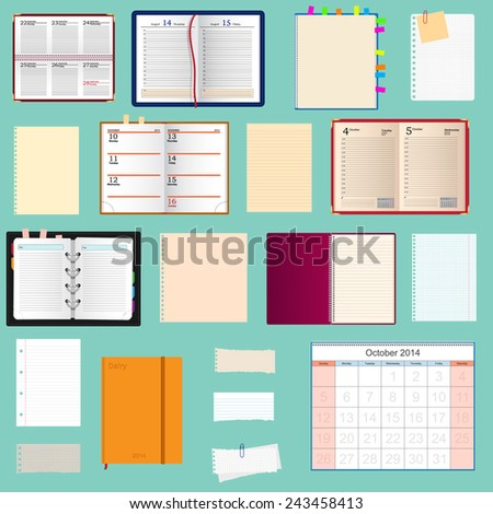 collection of notebooks  - stock photo