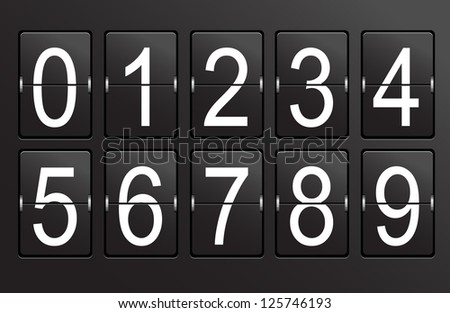 Collection of numbers on black, panel background. - stock photo