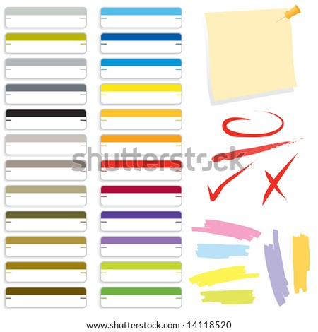 Collection of office supply graphics. Includes file folder labels, note, push pen, ink marks, and highlighters in JPEG/TIFF format (Image ID for vector version: 14064241) - stock photo