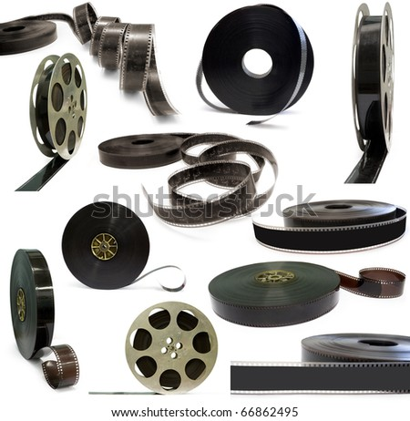 Collection of old films for cinema isolated on a white background - stock photo