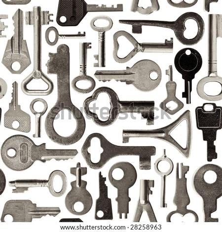 Collection of old keys isolated  seamless background toned - stock photo