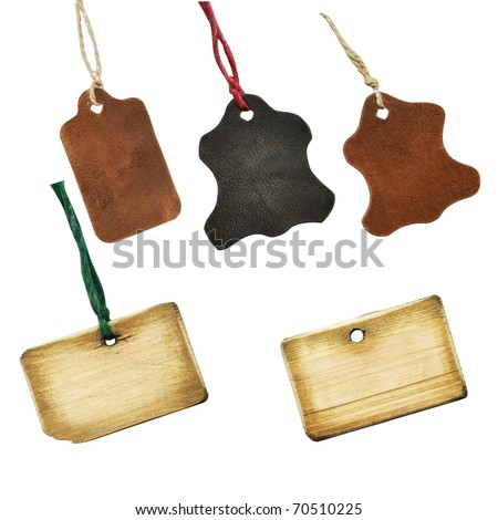 Collection of old labels, isolated with clipping path - stock photo