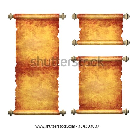 Collection of old parchments. Isolated on white background - stock photo