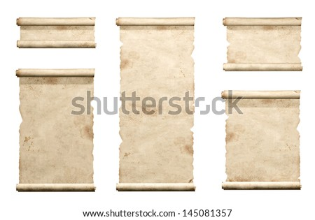 Collection of old parchments. Isolated over white - stock photo