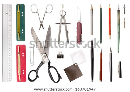 collection of old used office, drawing tools, isolated on white. - stock photo