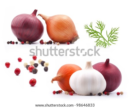 collection of onion and garlic with dill, spice isolated on white background - stock photo