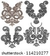 collection of ornamental floral neckline embroidery fashion. Raster version - stock photo