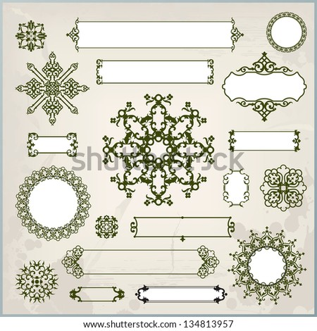 collection of ornaments and page decoration - stock photo