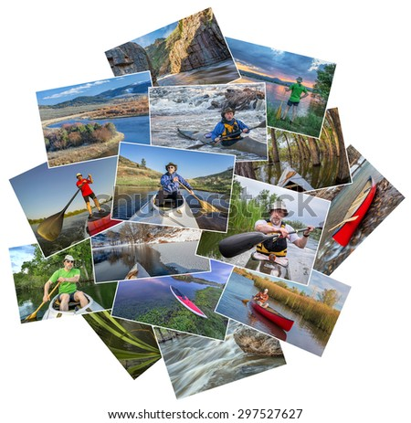 collection of paddling pictures from lakes and rivers of Colorado featuring kayaks, canoes and stand up padleboards  and the same male model - random pile isolated on white - stock photo