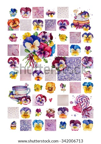 Collection of pansies. Sweets. Watercolor illustration. - stock photo