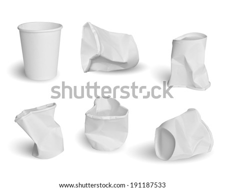 Collection of paper cups isolated on white background  - stock photo