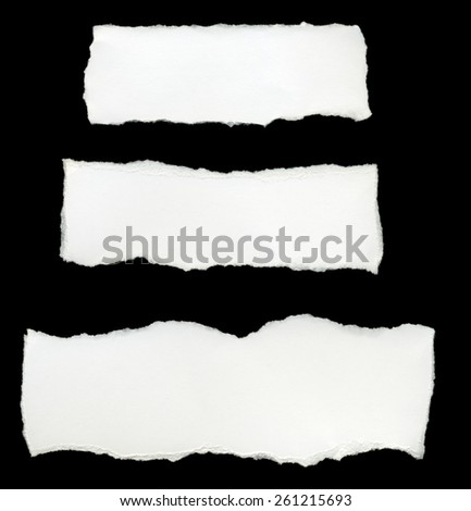Collection of paper tears, isolated on black background. - stock photo