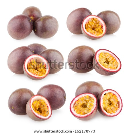 collection of 6 passion fruit images - stock photo