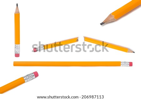 Collection of Pencil, Yellow Pencil, Clipping Path, isolated - stock photo