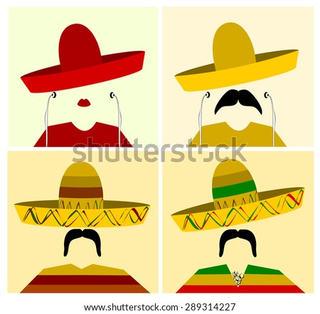 collection of people wearing sombrero - stock photo