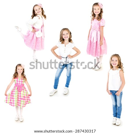 Collection of photos adorable little girl posing isolated on a white - stock photo