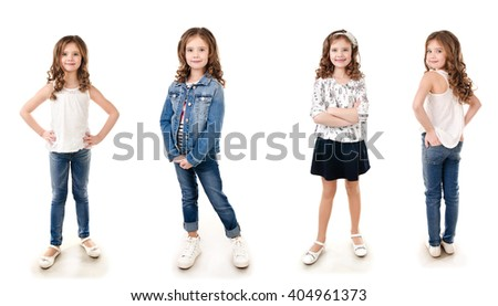 Collection of photos adorable smiling little girl isolated on a white - stock photo
