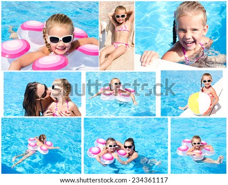 Collection of photos cute little girl and mother in swimming pool - stock photo