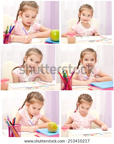 Collection of photos cute little girl writing and drawing in classroom - stock photo