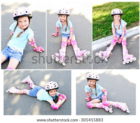 Collection of photos cute smiling little girl in pink roller skates and protective gear outdoor - stock photo