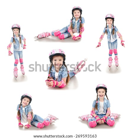 Collection of photos cute smiling little girl in roller skates and protective gear isolated on a white - stock photo