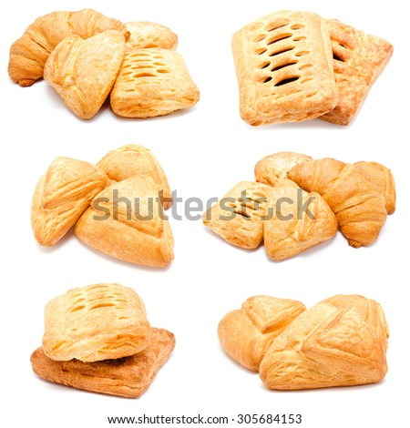 Collection of photos fresh puff pastry isolated on a white background - stock photo