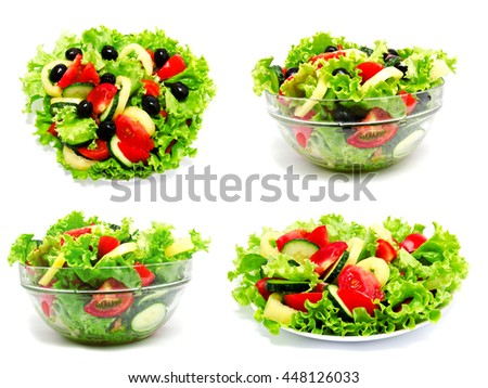 Collection of photos fresh vegetable salad isolated on a white background - stock photo