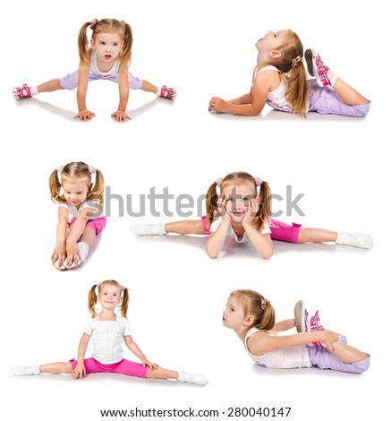 Collection of photos gymnast cute little girl isolated on white - stock photo