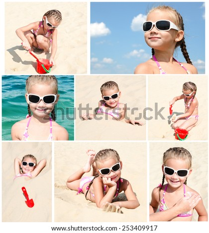 Collection of photos smiling cute little girl on beach vacation - stock photo