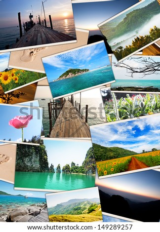 Collection of photos use as background - stock photo