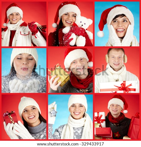 Collection of photos with happy Christmas people - stock photo