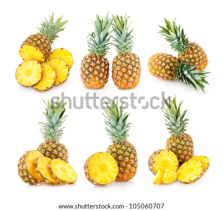 collection of 6 pineapple images - stock photo