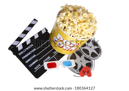 Collection of popcorn movie reel and director board on white background - stock photo