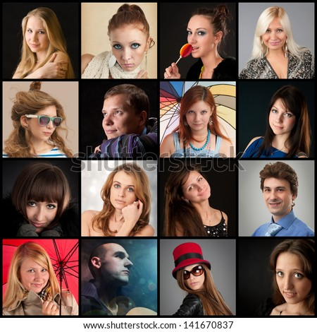 Collection of portraits - stock photo