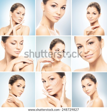 Collection of portraits with arrows. Beautiful and healthy young girl. Face lifting, plastic surgery and makeup concept. - stock photo