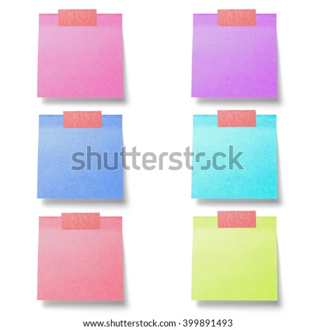 collection of post it paper note isolated on white background - stock photo
