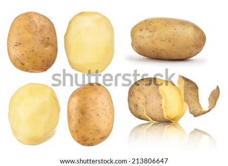 collection of potatoes peeled, in the peel on an isolated white background - stock photo
