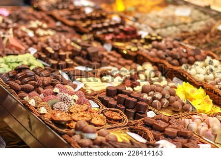 Collection of Pralines. Spanish sweets. Chocolate background with pralines.  - stock photo