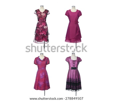 collection of red evening gown dress on mannequin  - stock photo