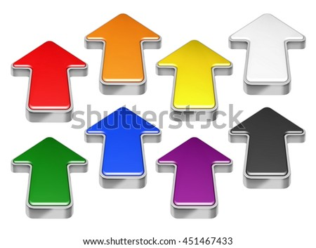 Collection of red, green, blue, yellow, black, orange, purple 3D arrows isolated on white - stock photo