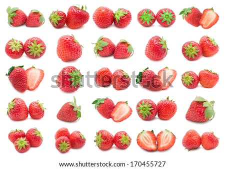 Collection of red strawberry isolated on white background - stock photo