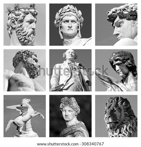 collection of renaissance sculptures from Florence, Italy - stock photo