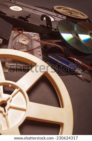 Collection of retro audio and video tapes. Shallow depth of field.  - stock photo