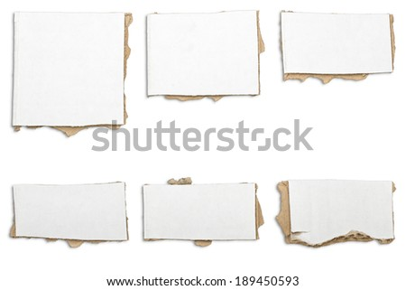collection of ripped  white pieces of cardboard, shadows, isolated on white. - stock photo